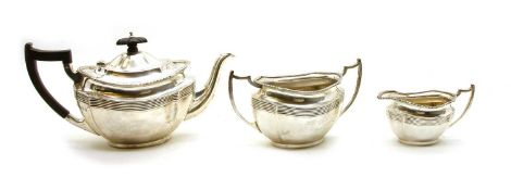 An early 20th century silver three piece tea service