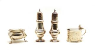 A four piece silver cruet,
