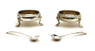 A pair of Georgian silver salts,