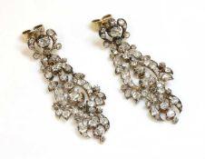 A pair of late Georgian diamond set drop earrings,