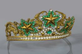 A Regency gilt metal, green and colourless paste tiara, c.1810-1820,