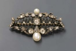 A Continental late Victorian pearl and diamond brooch,