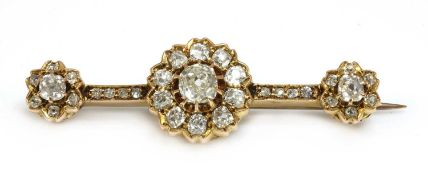 A late Victorian diamond cluster bar brooch,