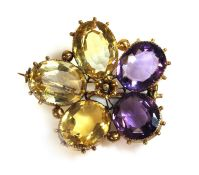 A Victorian gold amethyst and citrine pansy brooch,