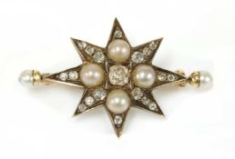A Victorian diamond and pearl India star,