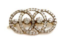 A Continental diamond set triple hoop brooch/pendant, c.1890,