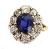 A Madagascan sapphire and diamond cluster ring,