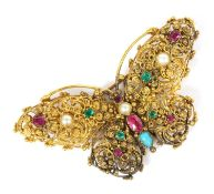 A Regency gold, gemstone and pearl butterfly brooch, c.1820,