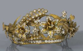 A Regency gilt metal and paste, en tremblant tiara or headdress, c.1810-1830,