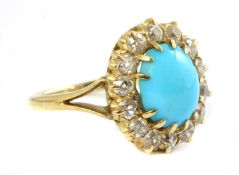 A Victorian turquoise and diamond oval cluster,