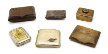 A collection of six soldiers World War I cigarette cases
