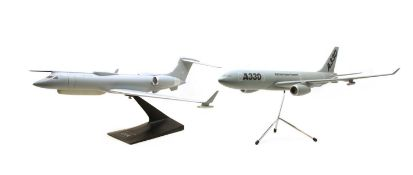 Two modern composition model aeroplanes