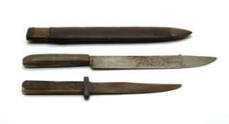 A 19th Century horn handled frontiersman's knife