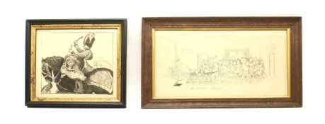 A framed early 20th Century cartoon of 'The Divisional Surgeon',