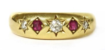 A Victorian 18ct gold diamond and ruby five stone ring,