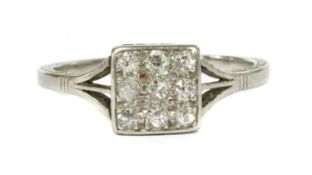 An early 20th century platinum diamond cluster ring,