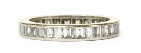 A white gold full eternity ring,