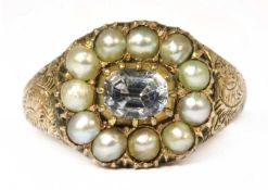 A white sapphire and split pearl cluster ring,