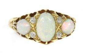 A Victorian 18ct gold opal and diamond ring,