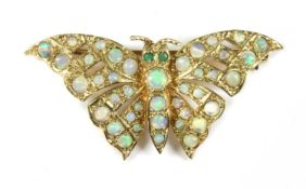 A 9ct gold opal and emerald butterfly brooch,