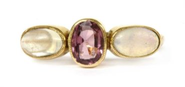 An Edwardian gold garnet, opal and moonstone ring,