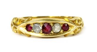 A 15ct gold ruby and diamond ring,