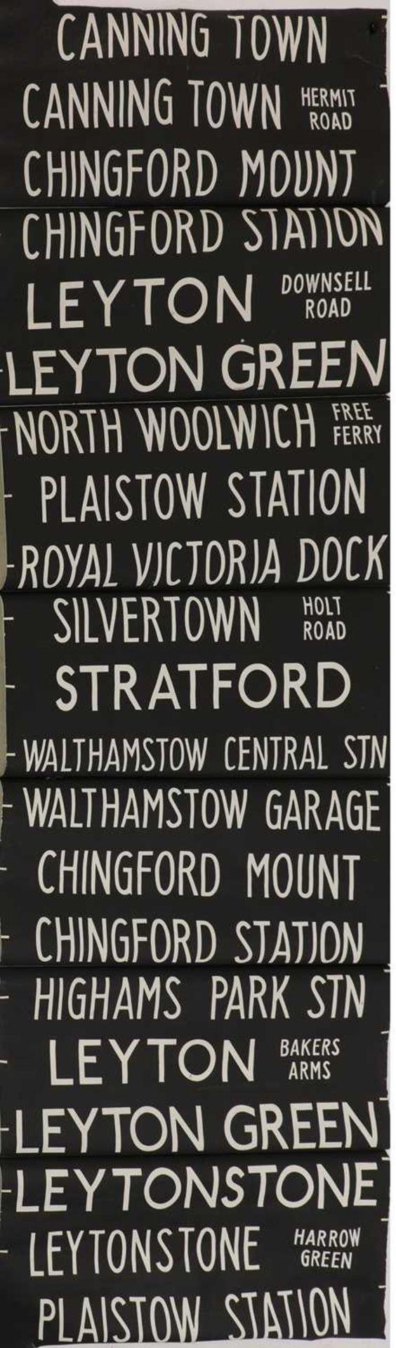 A LARGE LONDON TRANSPORT BUS BLIND,
