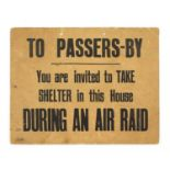 A RARE WORLD WAR 2 CARDBOARD LONDON AIR RAID SIGN,