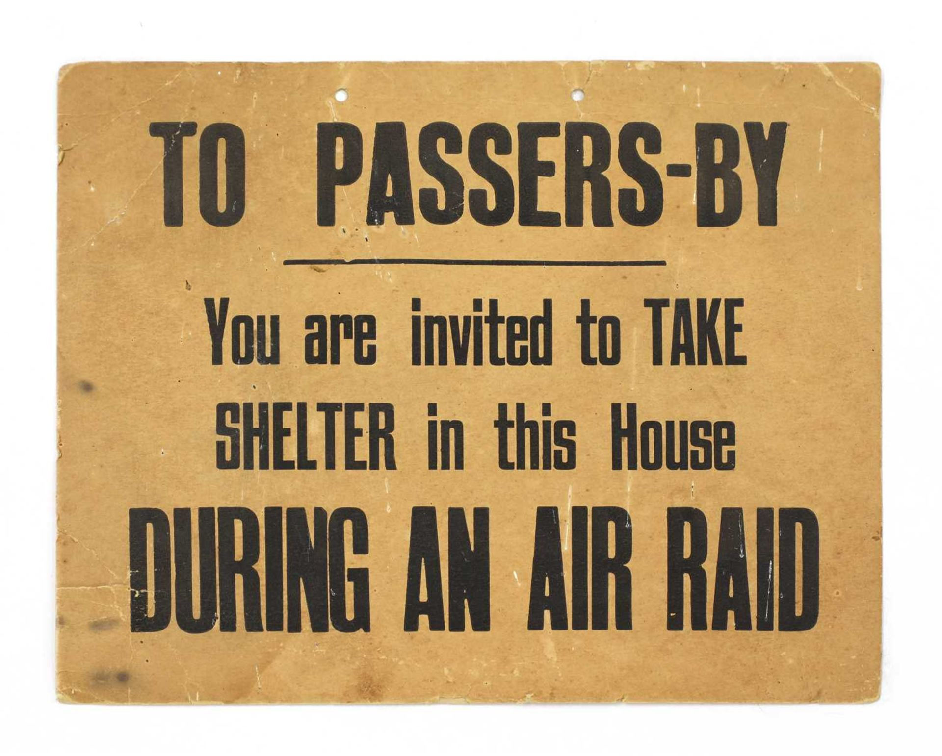 A RARE WORLD WAR 2 CARDBOARD LONDON AIR RAID SIGN,