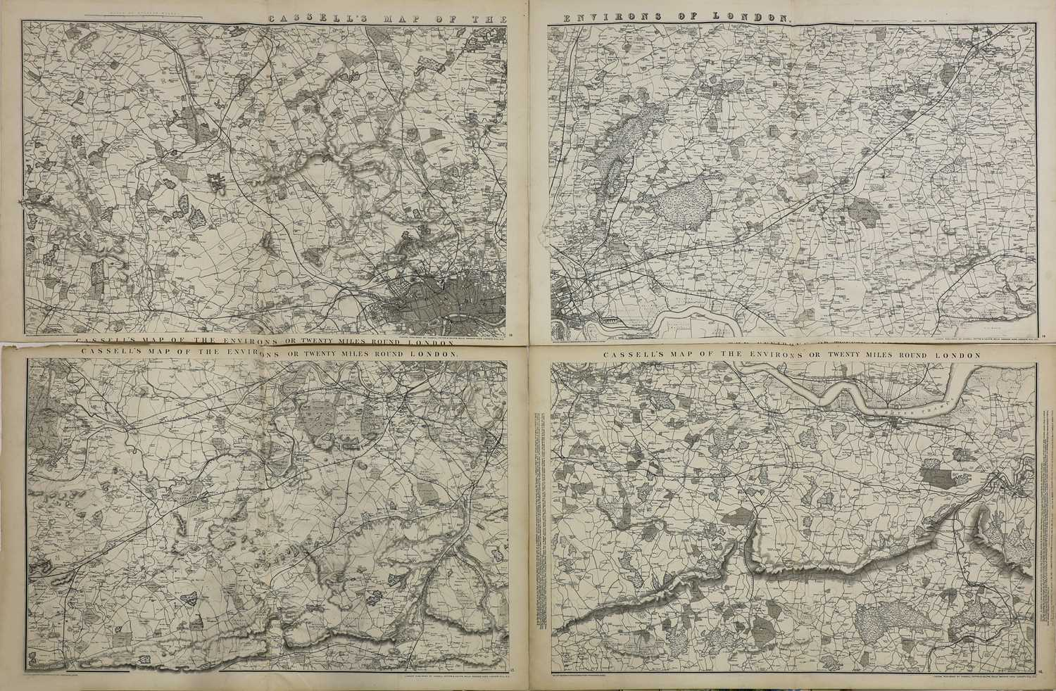 CASSELL'S MAP OF THE ENVIRONS OR TWENTY MILES ROUND LONDON,