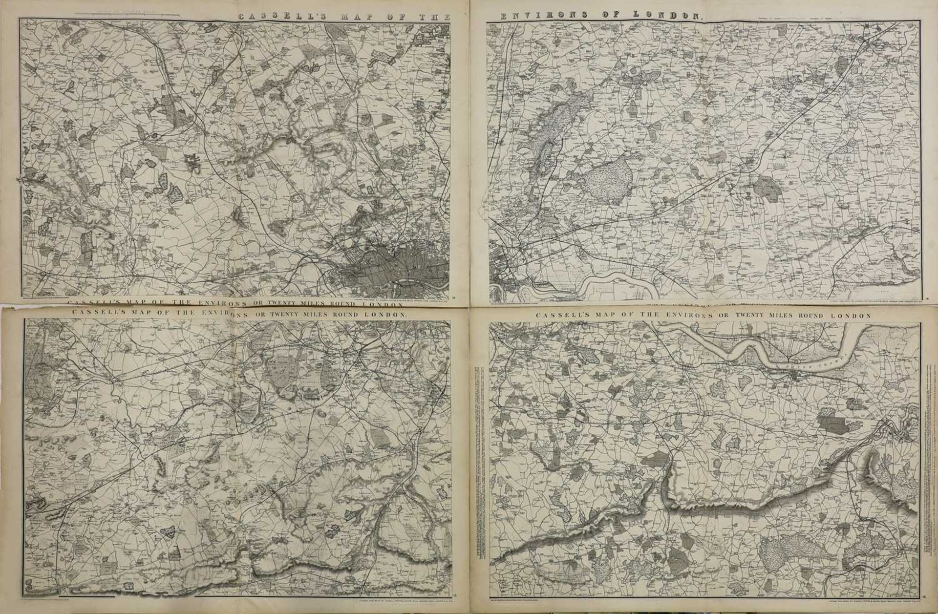CASSELL'S MAP OF THE ENVIRONS OR TWENTY MILES ROUND LONDON, - Image 2 of 2