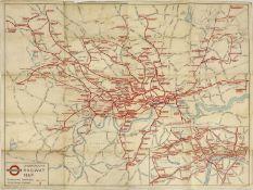 LONDON UNDERGROUND RAILWAY MAP 1937,