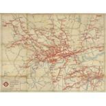LONDON UNDERGROUND RAILWAY MAP 1937,