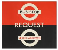 LONDON TRANSPORT BUS STOP REQUEST RED ARROW