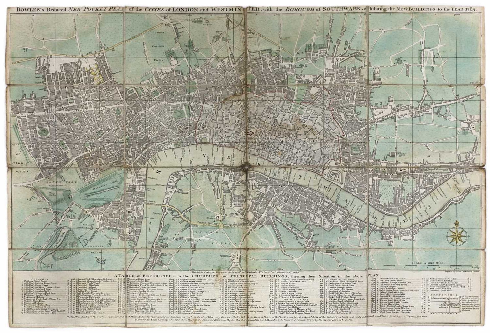 BOWLE'S REDUCED NEW POCKET PLAN OF THE CITIES OF LONDON AND WESTMINSTER 1785,