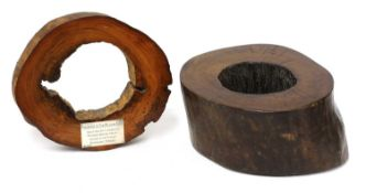 TWO SECTIONS FROM LONDON'S WOODEN WATER MAIN,