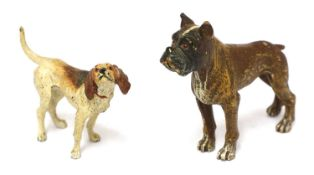 A cold-painted bronze foxhound,