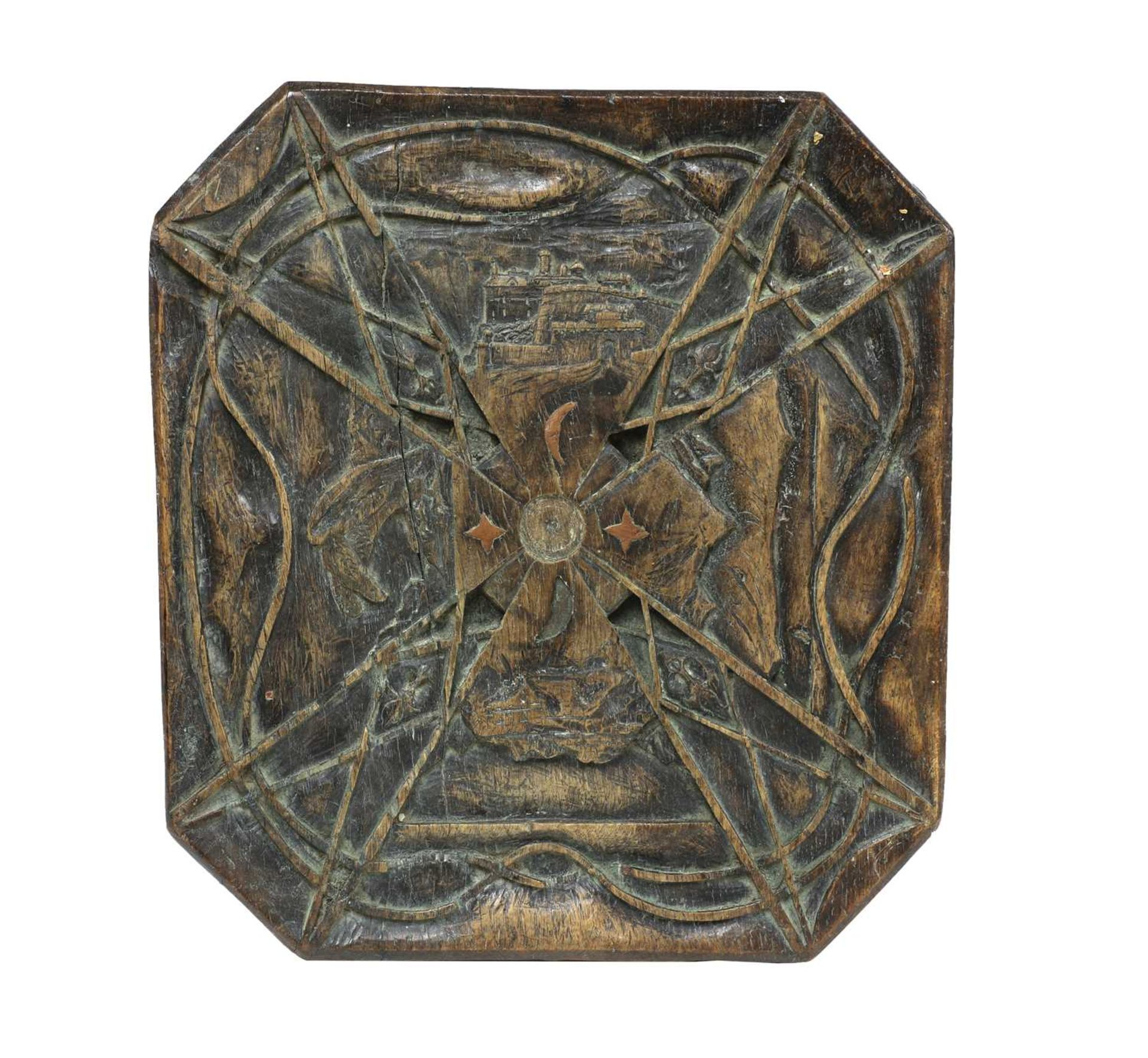 A carved and inlaid talismanic stool, - Image 2 of 6