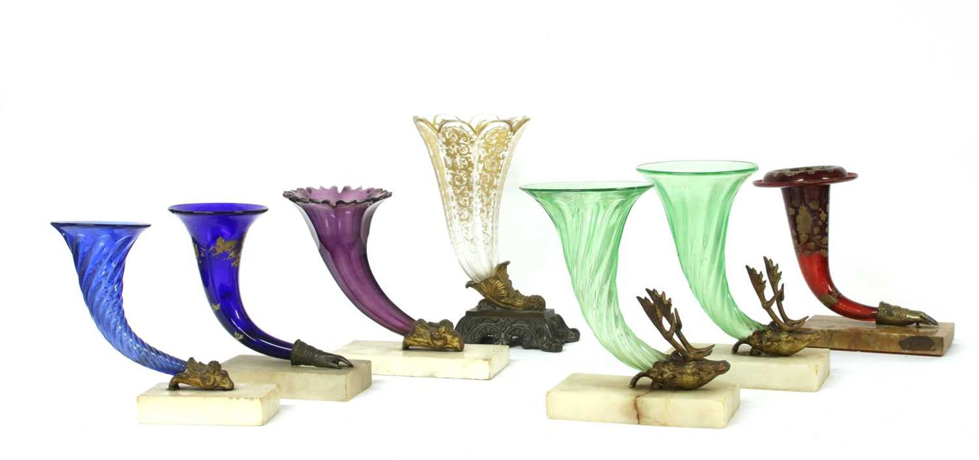A pair of green glass cornucopia vases, - Image 2 of 2