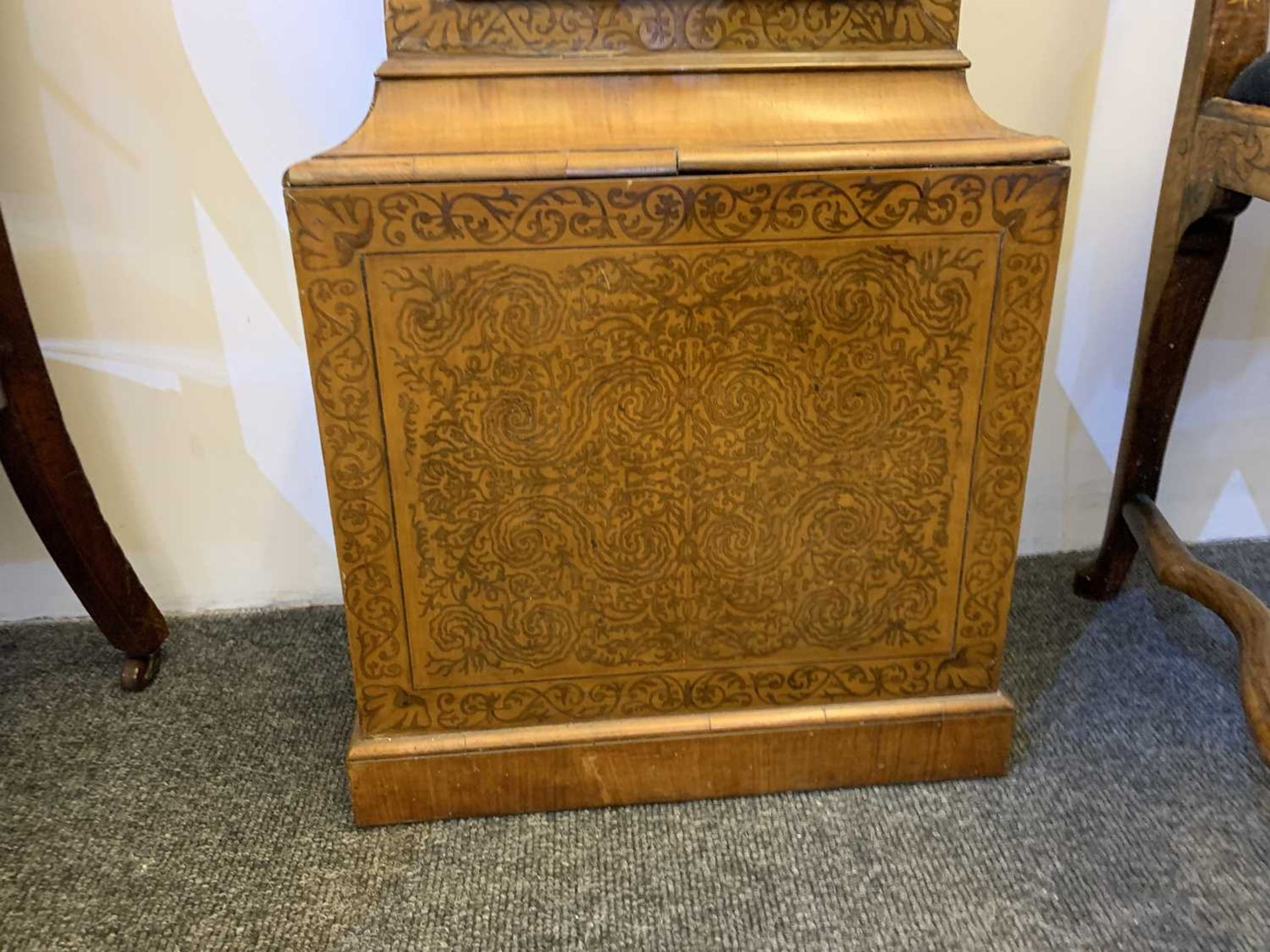 A seaweed marquetry and walnut longcase clock, - Image 7 of 24