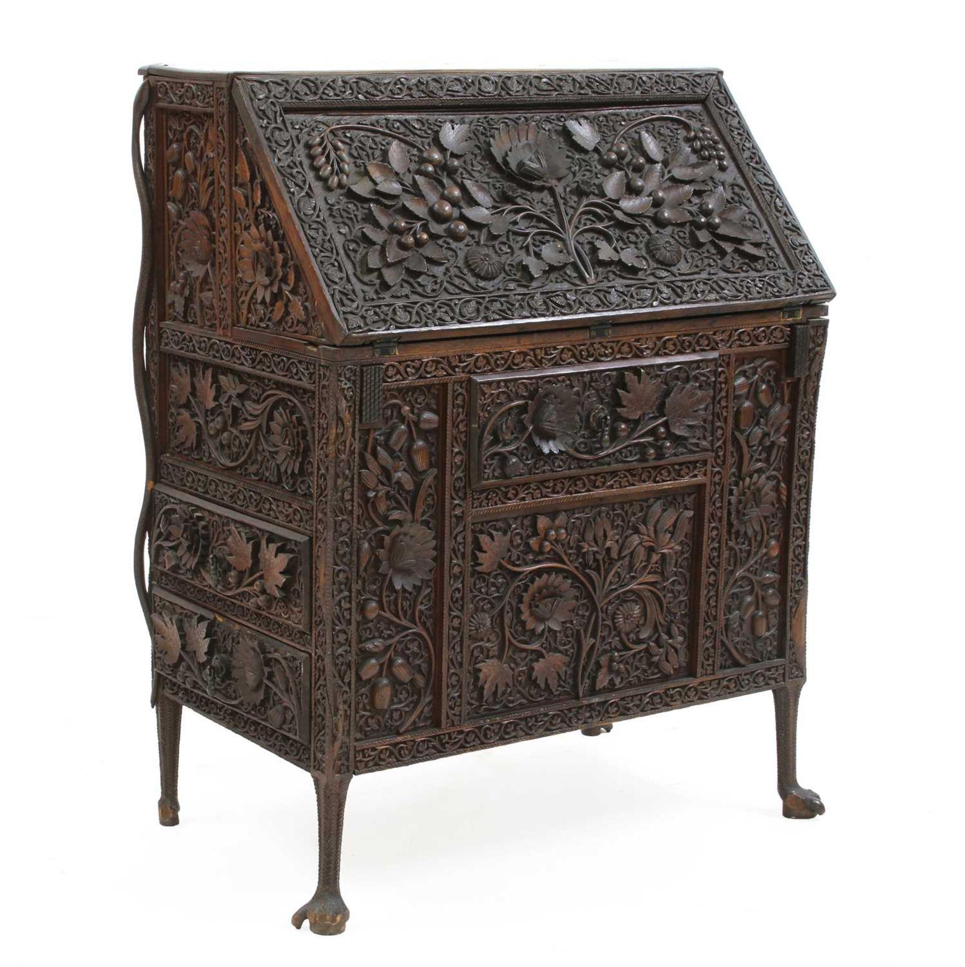 An Anglo-Indian rosewood bureau,