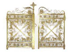 A pair of brass altar gates,