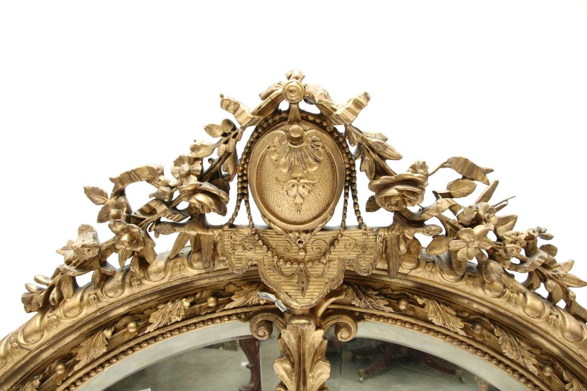 A French gilt gesso wall mirror, - Image 11 of 15
