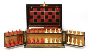 A Victorian coromandel cased games compendium,