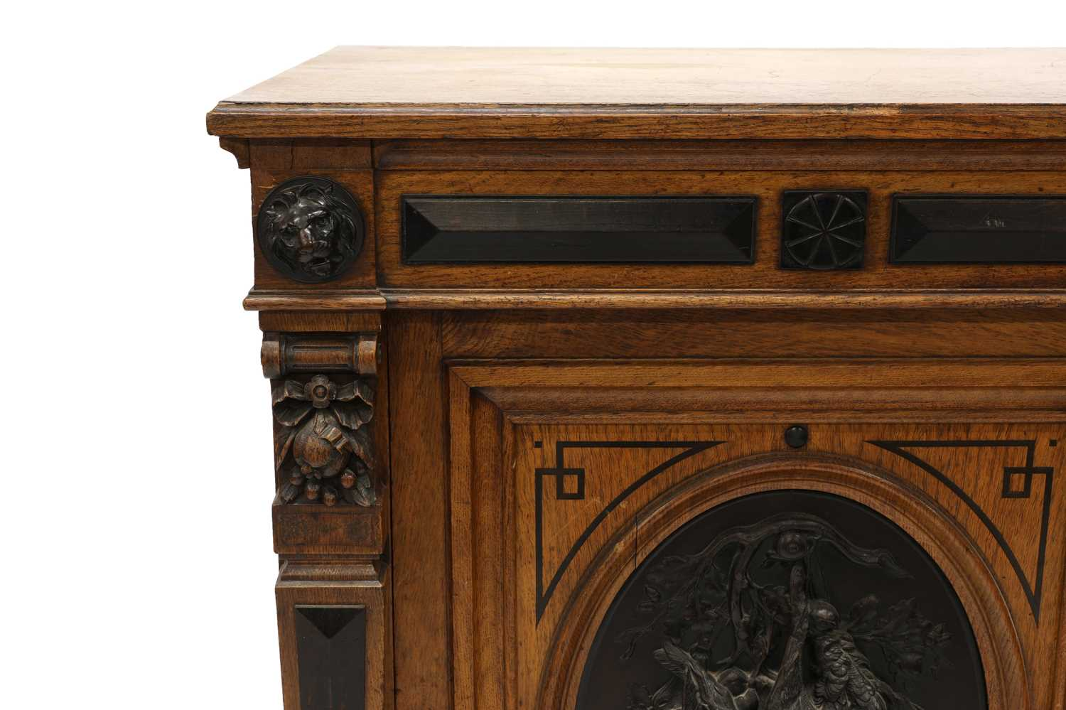 A Victorian oak and ebonised dining room pedestal, - Image 5 of 6