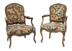 A French walnut-framed armchair,