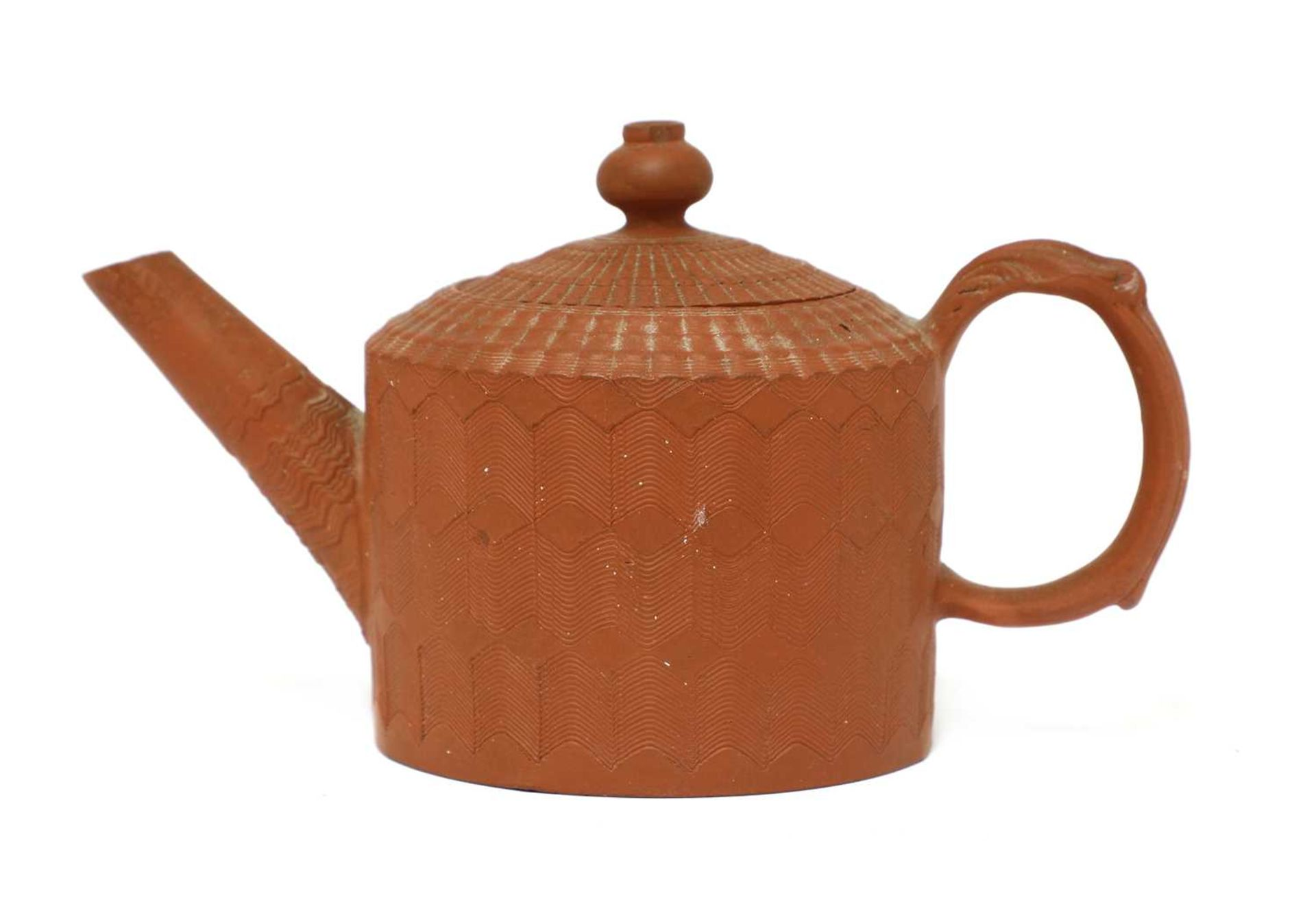 A Staffordshire redware miniature cylindrical teapot and cover, - Image 3 of 4