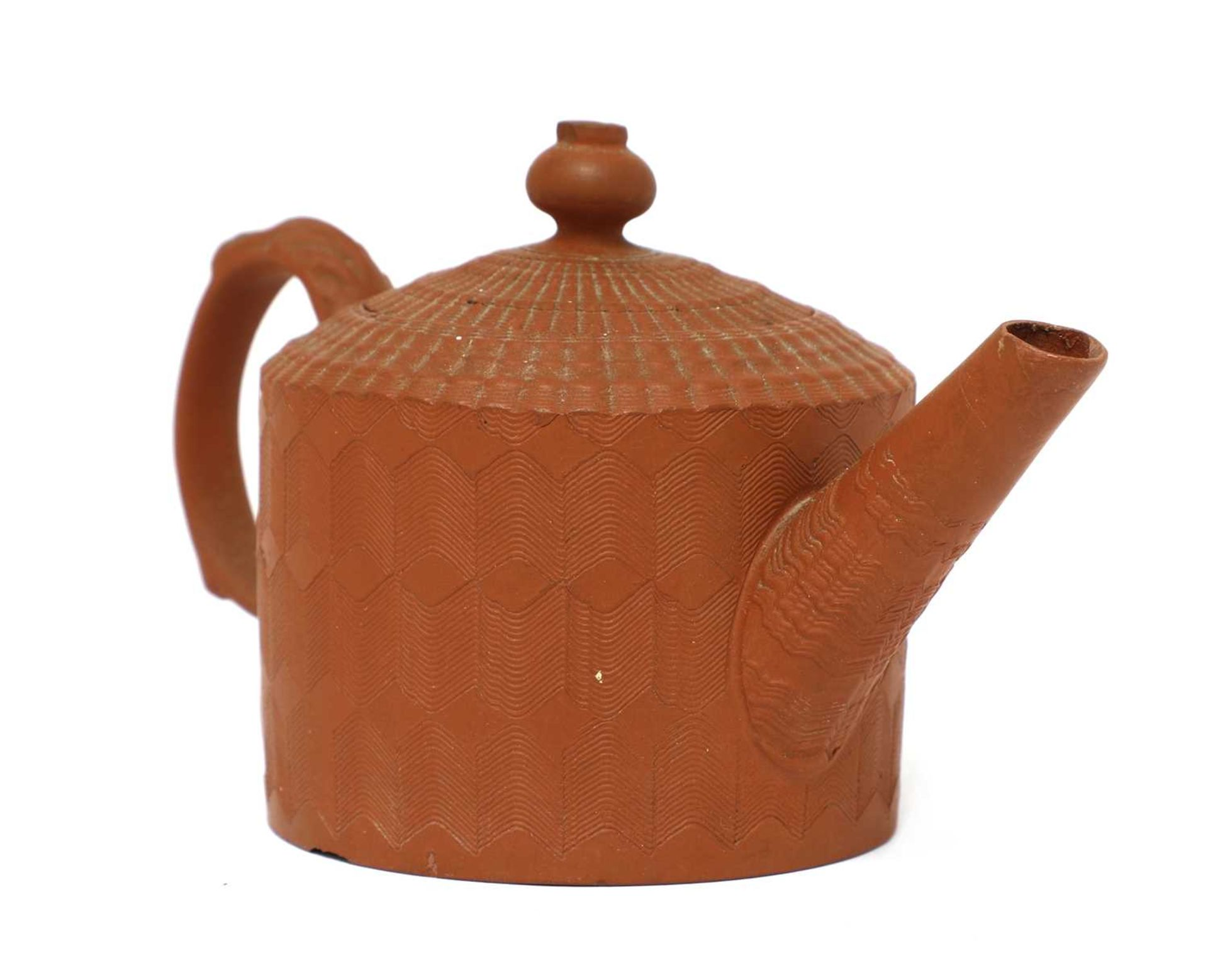 A Staffordshire redware miniature cylindrical teapot and cover,