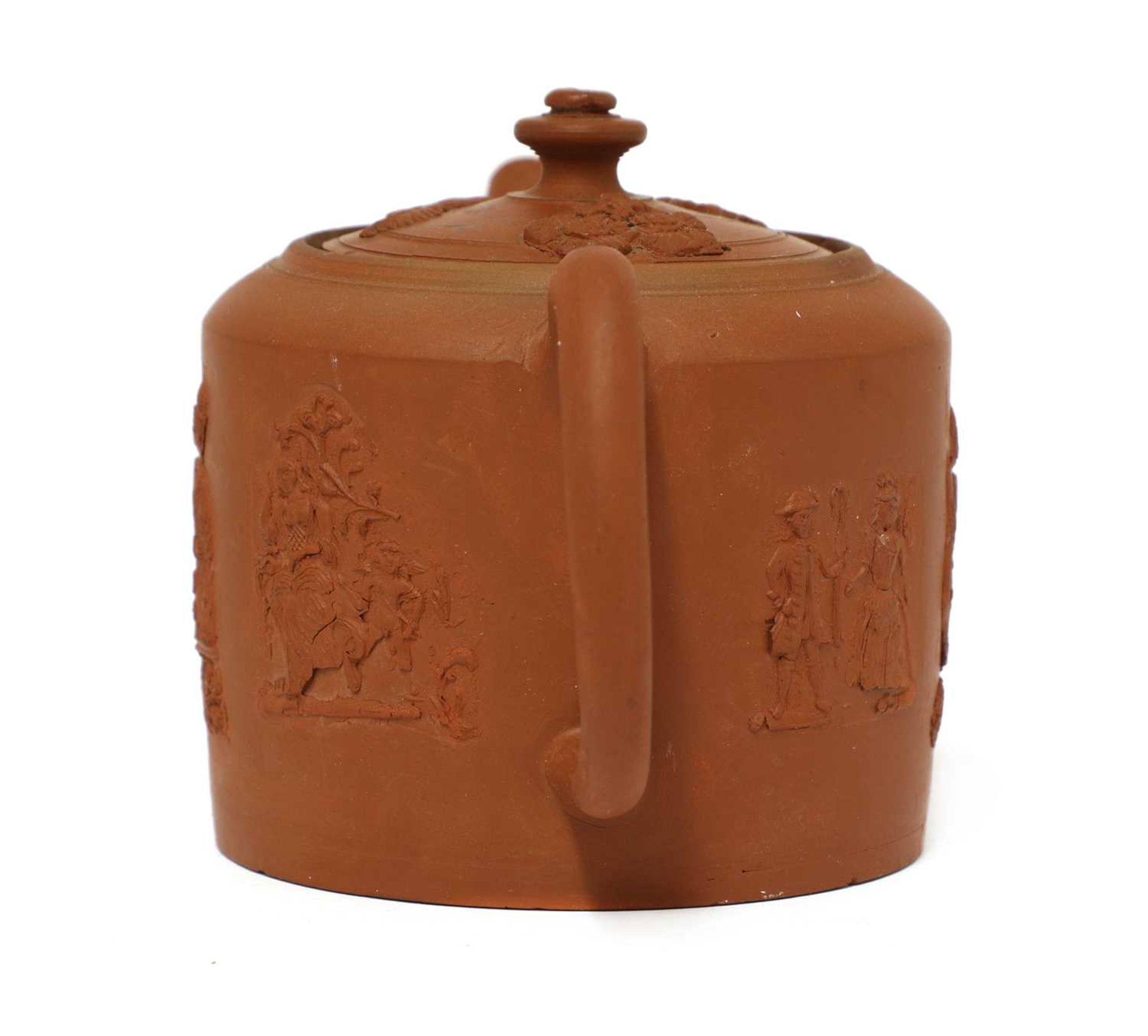 A Staffordshire redware small cylindrical teapot and cover, - Image 2 of 4