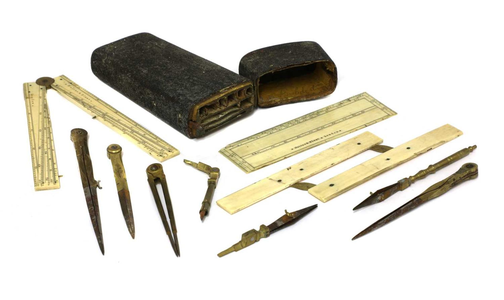 A shagreen cased draughtsman's instrument set, - Image 3 of 4